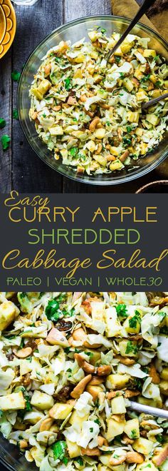 Curry Cashew Shredded Cabbage Salad with Apples - A sugar and gluten free healthy salad that is mixed with a creamy curry dressing and crunchy cashews! A healthy, paleo and whole30 side dish that everyone will love! | Foodfaithfitness.com | @FoodFaithFit