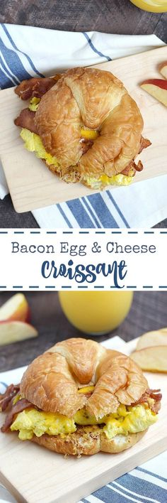 Everyone in the family will love a Bacon Egg and Cheese Croissant for breakfast or dinner! They are simple to make at home and so delicious. Bacon Breakfast, Breakfast Casserole, Breakfast Croissant, Bacon Sandwich, Sandwich Recipes, Brunch Recipes, Breakfast Recipes, Breakfast Ideas, Salads