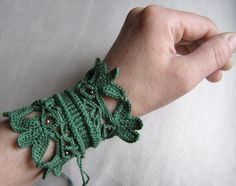 crochet cuff bracelet ...links to more pics of jewelry for sale ...crochet inspiration ONLY...