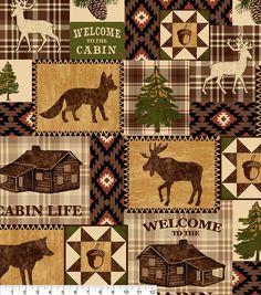 Anti Pill Fleece Fabric-Bear Lake Cabin Patchnull