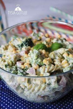 Sałatka makaronowa z brokułem | Tysia Gotuje Potato Appetizers, Appetizer Salads, Appetizer Recipes, Salad Recipes, Cooking Recipes, Healthy Recipes, Side Salad, Pasta Salad, Good Food