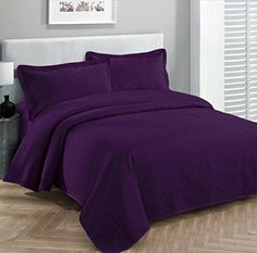 Fancy Collection 3pc Luxury Bedspread Coverlet Embossed Bed Cover Solid Drak Purple New Over Size 118″x106″ King/california King Looking for bedroom remodel pictures... - http://aluxurybed.com/product/fancy-collection-3pc-luxury-bedspread-coverlet-embossed-bed-cover-solid-drak-purple-new-over-size-118x106-kingcalifornia-king/