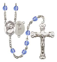ST. JOHN PAUL II Silver-Plated Rosary with 6mm Saphire Fire Polished beads