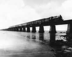 Train on the old Seven Mile Bridge, Florida Keys (1930's)