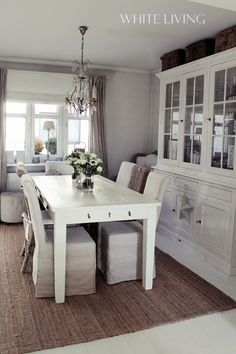 White dining room with natural textures