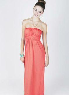 #coral #strapless #maxidress #longerlength #braided #braideddetail #openback #cute