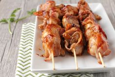 Everything is better wrapped in bacon, including these Mushroom Kabobs.