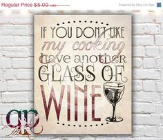 ON SALE  20 off kitchen decor wine decor by QuotablePrintables