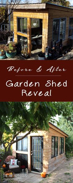 I LOVE this modern she shed! Before & After: Cool & Eclectic Garden Shed Reveal - The Hip Homestead Backyard Sheds, Backyard Farming, Garden Sheds, Garden Fun, Garden Path, Garden Tips, Dream Garden, Garden Projects, Diy Projects