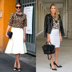 Leopard top, white skirt