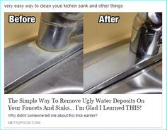 The EASIEST way to remove hard water deposits from your faucets and sinks! Baking Soda Cleaner, Baking Soda Scrub, Baking Soda For Hair, Baking Soda Face, Baking Soda Uses, Baking Soda Detox Drink, Homemade Cake Mixes, Homemade Toothpaste, Cleanser