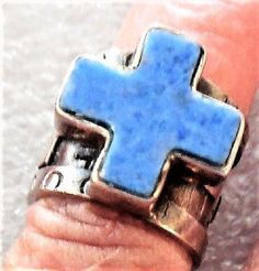 SIZE 5 STERLING SILVER Christian Religious Wide Vintag Blue Lapis CROSS RING R30 #Solitaire