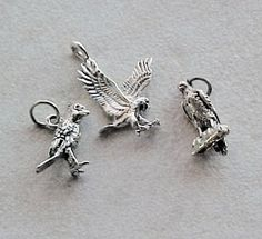 Charms, Animals: Birds Eagle, Hawk, Cardinal Sterling Silver Charms (3) #Traditional