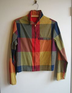 1960s surfer jacket, unisex rainbow plaid california style windbreaker lace-up sides mod cafe racer jacket