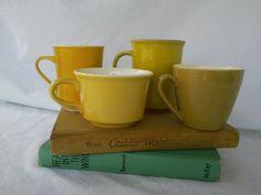 Set of 4 Mustard Yellow Mugs by vintapod on Etsy, $15.00