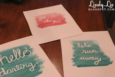 Watercolor words project