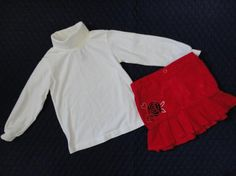 Size 4T Girls ~ *Healthtex - Red Cord w/Rose & Hearts + LS Wte Sweater!