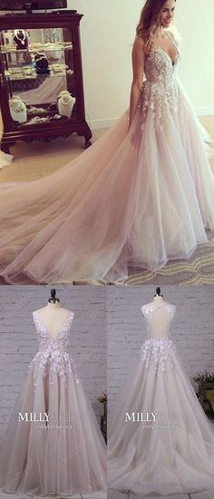 Long Prom Dresses For Teenagers,Pink Formal Evening Dresses,Modest Military Ball Dresses Princess,Cheap Wedding Party Dresses V-neck,Open Back Prom Dresses Lace #MillyBridal #pinkdress #lacedresses #promgowns #cheapweddingdresses