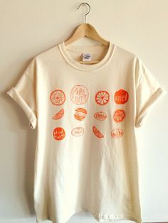 Oranges Screen Printed T Shirt, Fruit Print