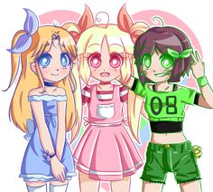 by KawaiiLoveAnime Chibi, Powerpuff Girls, Power Pop Girl, Star Anime, Art Sonic, Super Nana, Ppg And Rrb, Disney Cartoons, Cartoon Art