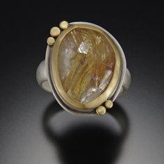Rose Cut Rutilated Quartz Ring