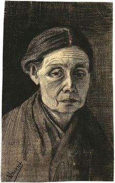 Head of a Woman - Vincent van Gogh . Created in The Hague in December - January , 1882 - Located at Van Gogh Museum Vincent Van Gogh, Artist Van Gogh, Van Gogh Art, Van Gogh Drawings, Van Gogh Paintings, Paul Gauguin, Claude Monet, Alphonse Mucha, Desenhos Van Gogh