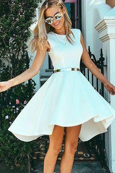 High Low Bateau Sleeveless White Satin Homecoming Dress PG081