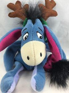"""Disney Bean Bag Plush 9"""" Or 23cm Eeyore Antlers Reindeer Moose"""