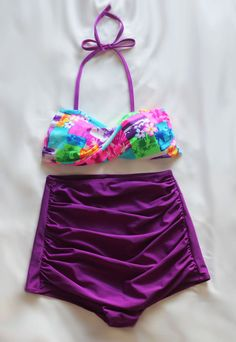 Sophie Retro High Waist Swimsuit (Multi Color Top and Violet Bottom Vintage Swimsuit), High Waist Swim Swimming Swimwear Bathing suit S M on Etsy, $39.99