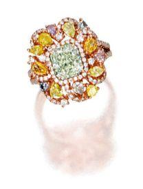 Fancy intense yellowish green diamond, coloured diamond and diamond ring