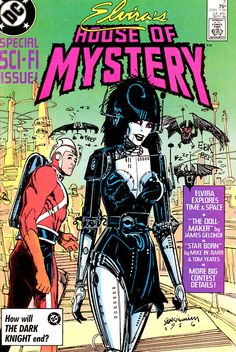 "thebristolboard: "" Classic cover by Bill Sienkiewicz from Elvira's House of Mystery published by DC Comics, September "" Comic Book Covers, Comic Books Art, Comic Art, Book Art, Cassandra Peterson, Bristol Board, Famous Monsters, Desenho Tattoo, Old Comics"