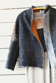 Купить Куртка из шерсти и кожи с косой застёжкой - черный, куртка с косой застёжкой, куртка женская
