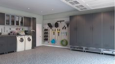 Garage storage - brushed aluminum - Home and Garden Design Ideas - Closet Factory.  i would love to have an old washer and dryer in the garage for dirty work clothes.