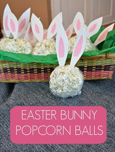 Use White Chocolate Popcorn from Lisa's Passion for Popcorn to make this fun treat! EASTER BUNNY POPCORN BALLS