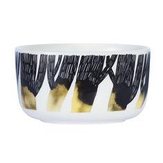 Discover the Marimekko Oiva Bowl - White/Black/Yellow at Amara