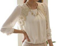 lace split chiffon blouses