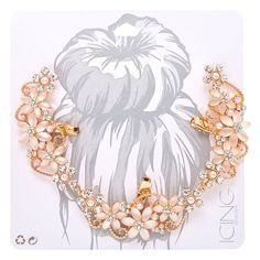Frosted Crystal Flower Rose Gold-Tone Hair Swag