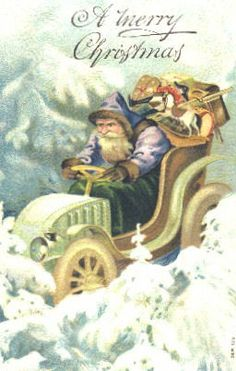 Vintage Car Driving Santa Christmas Card