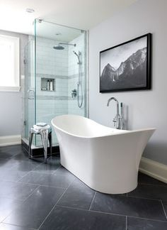 Home in Lawrence Park, Toronto - transitional - Bathroom - Toronto - Jackie Di Cara Design Bardiglio marble tile floor