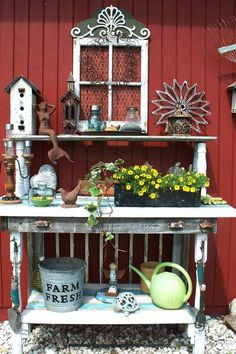 Sue Gerdes's planting table from all kinds of bits and bobs.