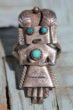 Vintage Southwestern Tribal Sterling Silver Turquoise Kachina Ring | eBay