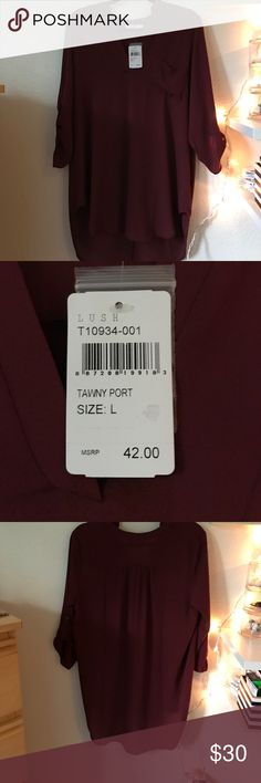 Lush Perfect Roll Tab Sleeve Tunic Maroon colored tunic from Nordstrom. Never worn, BRAND NEW!! Pocket on the left chest. No holes, stains, or smells! Lush Tops Tunics