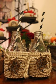 Rope wrapped drinks at a Pirate Birthday Party!  See more party ideas at CatchMyParty.com!