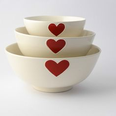 Medium red heart salad bowl – Sourced & Shared