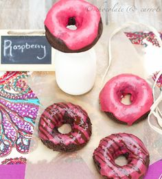 Whole Wheat Chocolate Raspberry Baked Donuts