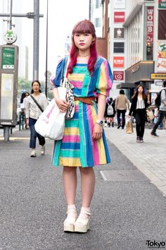 Rainbow Dress, Princess Castle Tote & WEGO Platform Sandals in Harajuku (Tokyo Fashion, 2015)