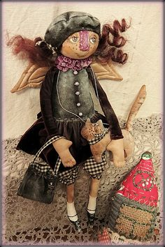 Primitive Folk Art, Raggedy Ann, Softies, Faeries, Art Dolls, Decorative Items, Doll Clothes, Whimsical, Arts And Crafts