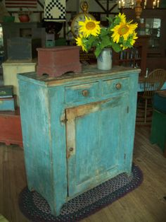 19th century one door storage cupboard with wonderful blue paint.