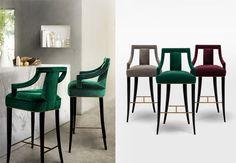 EANDA | Modern Bar Chair, modern upholstered bar chair, mid century modern upholstery, hotel restaurant modern bar chairs by BRABBU | www.brabbu.com These stool bar in green velvet by @brabbu are so beautifull