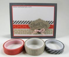 Use Washi Tape to create fun stripes on your cards and other projects.  www.barbstamps.com